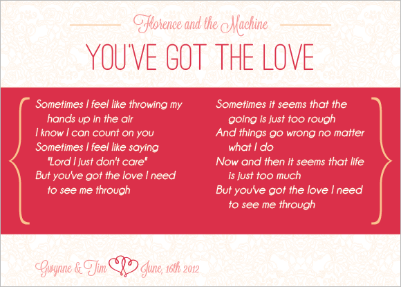 Wedding Table Cards - Florence + the Machine