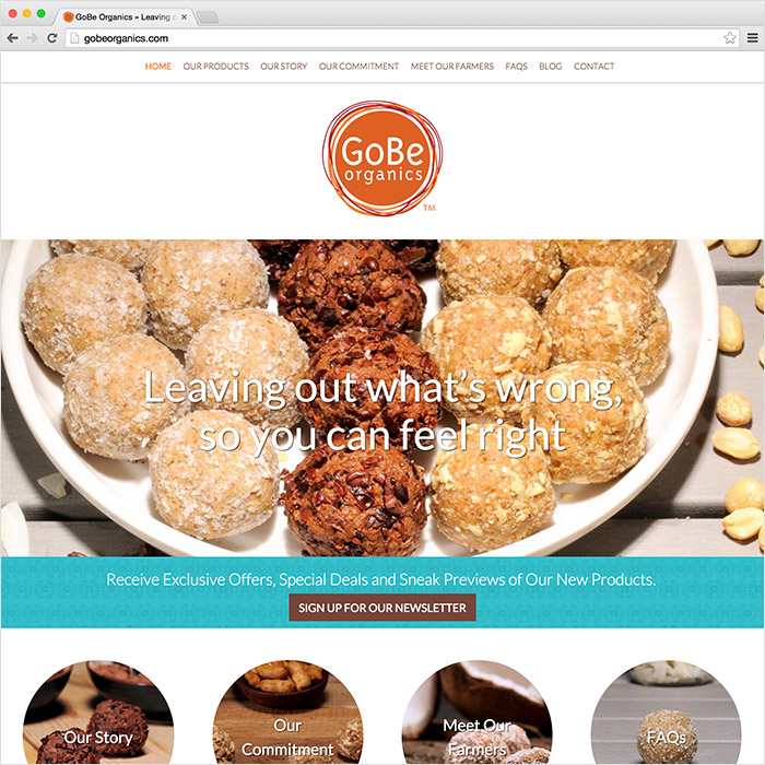 GoBe Organics website