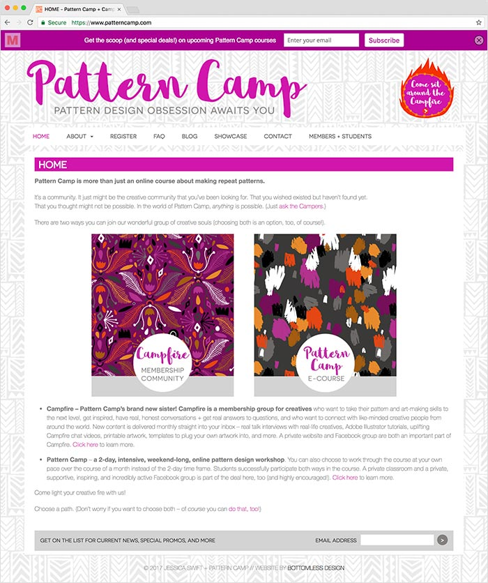 Pattern Camp website